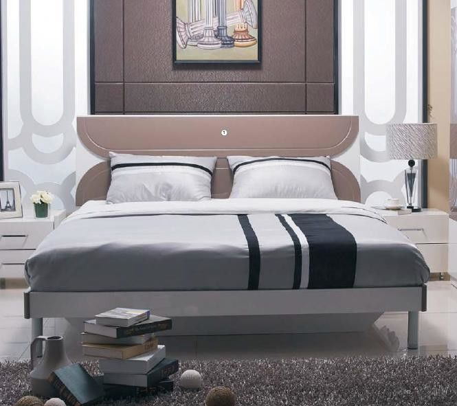 Fashion Bedroom Suite Furniture King Size Bed Thai Rubber Wood With Melamine Finishing