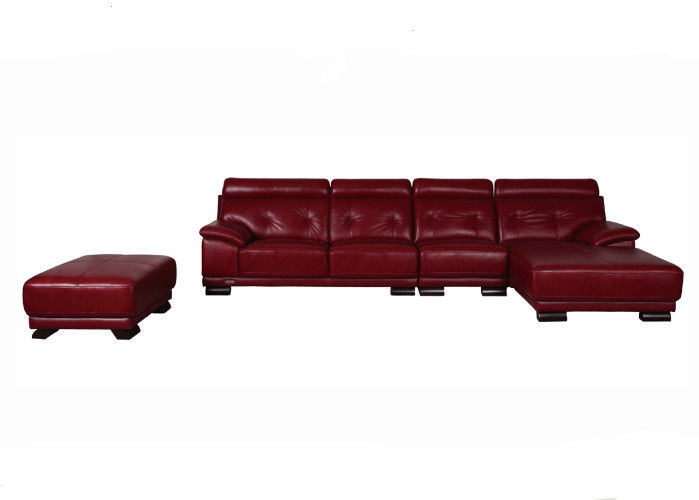 Durable Living Spaces Leather Sofa With Solid Wood Frame / High Cushion Corner Sofa